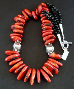 Bamboo Coral Graduated Oval Disc Necklace with Onyx Rounds and Ornate Sterling Silver
