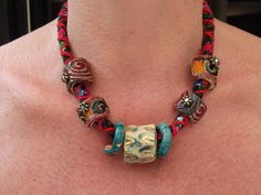 Textile necklace with ceramic, handmade jewelry