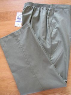 NWT ALFRED DUNNER Pull On Long Pants Aloe Green Size 18 Prop. Med.  Ret $46. Perfect pants for spring and summer wear and great color.