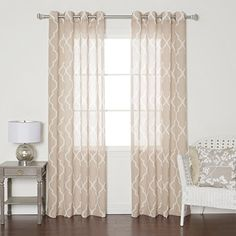 """Taupe Sheer Moroccan Print Grommet Top Curtain 84"""" Long - 1 Pair Best Home Fashion http://www.amazon.com/dp/B00M3CSW0I/ref=cm_sw_r_pi_dp_WIYjvb1VGYBPE"""