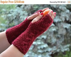 SALE 15% OFF Knitted mittens/gloves dark red  Accessories Autumn  unique gifts