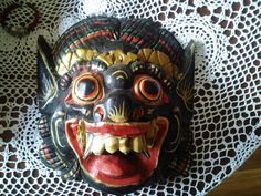 Vintage Paper Mache Mask - Devil Hand Made And Hand Painted by…