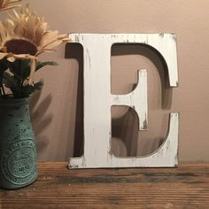 Rustic White Distressed Initial Letters A B C D E F G H I J K L M N O P Q R S T U V W X Y & Z, Shabby Chic, French Farmhouse Decor