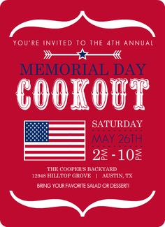 memorial day cookout invitation wording
