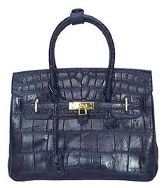 Authentic M Crocodile Skin Womens Belly Hobo Bag Purse W/Strap Handbag (Shiny Dark Blue)