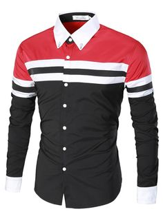NEW /& UNIQUES RED TRIBAL CHAIN FITTED LONG SLEEVE SHIRT WORKOUT OR CLUB WEAR