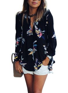 Phoenix Women Casual Floral Print Long Sleeve Chiffon Shirt Blouse Tops, Black, Medium at Amazon Women's Clothing store: