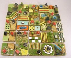 Possible homemade Carcassonne? Ceramic Houses, Ceramic Clay, Ceramic Pottery, Pottery Art, Ceramics Projects, Polymer Clay Projects, Britisches Museum, Collaborative Art, Tile Art