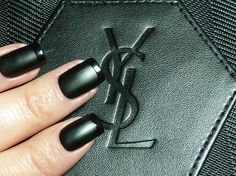 """Could this look be the french manicure's """"bête noire""""? Use both the #matte and #shiny polishes from Yves Saint Laurent's Duo Terriblement Noir set!"""