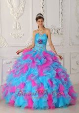Popular Sweet Multi-color Quinceanera Dress Strapless Organza Appliques and Hand Flower Ball Gown