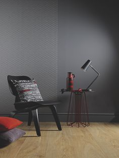 Rather than red I would use green and tangerine to accent different pieces. -- Grey is so popular right now. It works really well in kitchens, bedrooms and living rooms complemented with striking texts and a kick of colour. #decor #grey