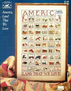 """AMERICA LAND THAT WE LOVE"" 50 States US USA Cross Stitch"