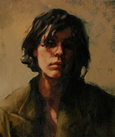 """""""One of The Guys"""" - Katherine Frasier {contemporary figurative art female head woman face portrait grunge cropped painting #loveart} katherinefraser.com"""