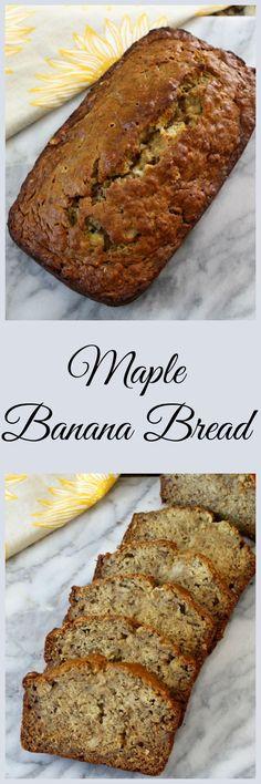 Banana Bread Maple Banana Bread - A soft, moist classic banana bread with just a hint of maple flavoring.Maple Banana Bread - A soft, moist classic banana bread with just a hint of maple flavoring. Dessert Bread, Dessert Recipes, Cake Recipes, Good Food, Yummy Food, Banana Bread Recipes, Quick Bread, Sweet Bread, Coffee Cake