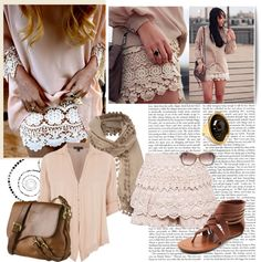 """""""Cream Lace"""" by maipessa ❤ liked on Polyvore"""