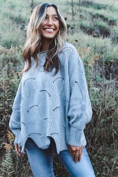 Bring on fall in our Marshmallow Fireside Sweater! Pullover style and oversized silhouette for any body shape. Features classic batwing sleeve, scalloped hemline, delicate hollow-out and unique texture. Perfect for fall weather and will take you right into winter! We paired I with our Blakely EST. Jeans! If you're really in love, go ahead and snag it in both colors! Runs oversized. Model is wearing a size small. 100% Acrylic. Fall Weather, Batwing Sleeve, Black Bodysuit, Lace Bralette, Dream Dress, Marshmallow, Boutique Clothing, Latest Fashion Trends, Hemline