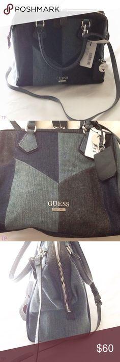 GUESS Diego Blue Denim doctor bag style handbag NEW NWT Genuine GUESS Diego Blue Denim doctor bag style handbag Measures 10 x 12 x 7 zipper closure  Style: BB656806 UPC 1 90231 07744 2 Denim Multi / Diego A5 Guess Bags Satchels