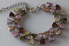 "Sterling silver and triangle shape color CZ bracelet, length 7"" + 1"" Lot 387"