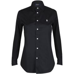 Polo Ralph Lauren Womens Black Kendall Long Sleeved Cotton Shirt (€125) ❤ liked on Polyvore featuring tops, shirts, long sleeve tops, extra long sleeve shirts, cotton logo shirts, shirt tops and logo shirts