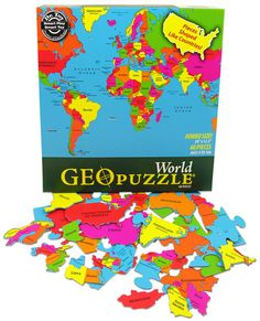 World GeoPuzzle - We are really enjoying this puzzle. My 3yo loves maps and geography, so this puzzle is a lot of fun for him to do. Costco does carry this line of puzzles in the late summer for their back to school. You can find some of the other Geopuzzles as well.