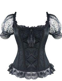 675d4df7a4 Lacet Corset Femme Jacquard - Moyen Coton Polyester Blanc Noir Bleu Bustier  Noir