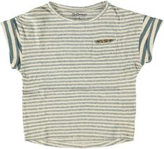 Somewhat looser, super comfy cotton slub t-shirt with 1/8 sleeves, front pocket and dynamic, contrasting stripes.
