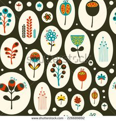 Seamless pattern with colorful flowers on black background. #floralpattern #flatdesign #vectorpattern #patterndesign #seamlesspattern