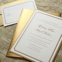 Simple Wedding Invitations Gold Wedding Invitations Traditional Wedding Invitations Classic Wedding Invitations Sample. $2.50, via Etsy.
