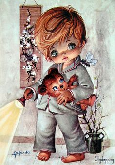 Vintage Big Eyed Boy Postacard    by Gallarda
