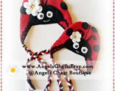 Crochet LADYBUG HAT PDF Pattern Sizes Newborn to Adult Boutique Design - No. 29 by AngelsChest - Includes British and American Crochet Terms