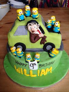 Mr Bean & Minions Cake 1 Mr Bean Birthday, 9th Birthday, Birthday Cake, Mr Bean Cake, Bean Cakes, Beautiful Cakes, Amazing Cakes, My Bean, Cake Board