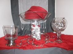 Candy dishes for candy buffet for Valentine wedding.