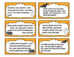 Here's a Halloween-themed set of problem solving task cards for second grade. Problems  include addition, subtraction, patterns, make an organized list, and algebraic thinking.