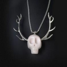 Skull Necklace Silver Antlers now featured on Fab.