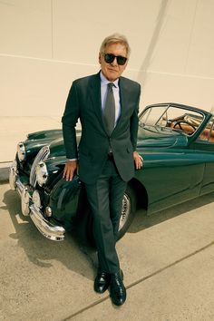Harrison Ford in GQ - Suit by Dennis Kim / Shirt by Anto / Tie by Giorgio Armani / Shoes by John Varvatos / Sunglasses by Persol