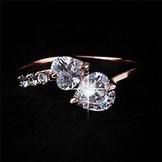 17KM 2/Color hot New Design Fashion double heart Rose Gold Color Zircon Austrian Crystal wedding Rings jewelry