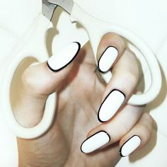 cool nail ideas simple and easy - Black white nails