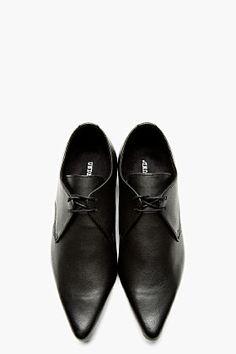 UNDERGROUND Black Leather Paul Winklepicker Derbys
