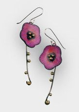 Dangling poppy flower earrings: Pink Prismacolor by tomlindesign