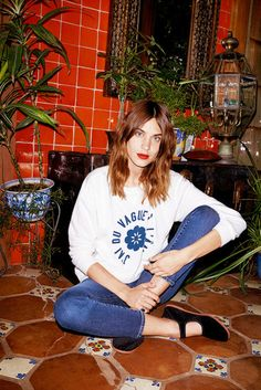 Shoes: alexa chung mary jane flats cropped jeans printed sweater celebrity style