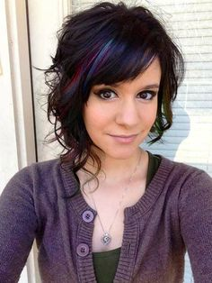 Asymetric shoulder length hairstyles idea with blue color
