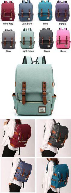 Which color do you like? Vintage Canvas Travel Backpack Leisure Backpack&Schoolbag #vintage #travel#backpack #Bag #school #college #girl #student #rucksack #leisure #fashion #camping