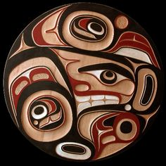 """Don Yeomans (Haida) Hand carved and painted red cedar 36"""" diameter"""