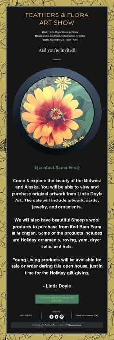 What: Linda Doyle Winter Art Show Where: 240 N Southport Rd Mundelein, IL 60060 When: November - Winter Art, Youre Invited, Original Artwork, Flora, Feather, Quill, Plants, Feathers