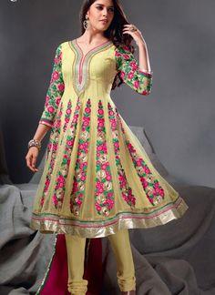$104.20 Yellow 3/4 Sleeve Net Long Anarkali Salwar Kameez 21269