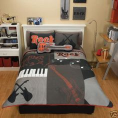 (Click to order - $148.99) Grey Red Guitar Comforter Bedding Set Twin From COMFORTER