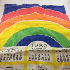 Rainbow tea towel Vera 1982 calendar kitchen linens by TheWabiSabi,
