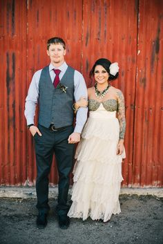 stephanie + erik | Burnished Organza Gown from BHLDN | ken kienow wedding photography | via: style me pretty | #BHLDNbride
