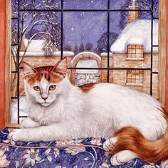 Winter cat painting. Debbie Cook