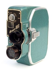 """ Vintage seafoam green Bauer Super 8 Movie Camera, circa "" Beautiful typography and design. Mode Vintage, Vintage Love, Retro Vintage, Vintage Horror, Vintage Stuff, 3d Camera, Movie Camera, Retro Camera, Vintage Video Camera"